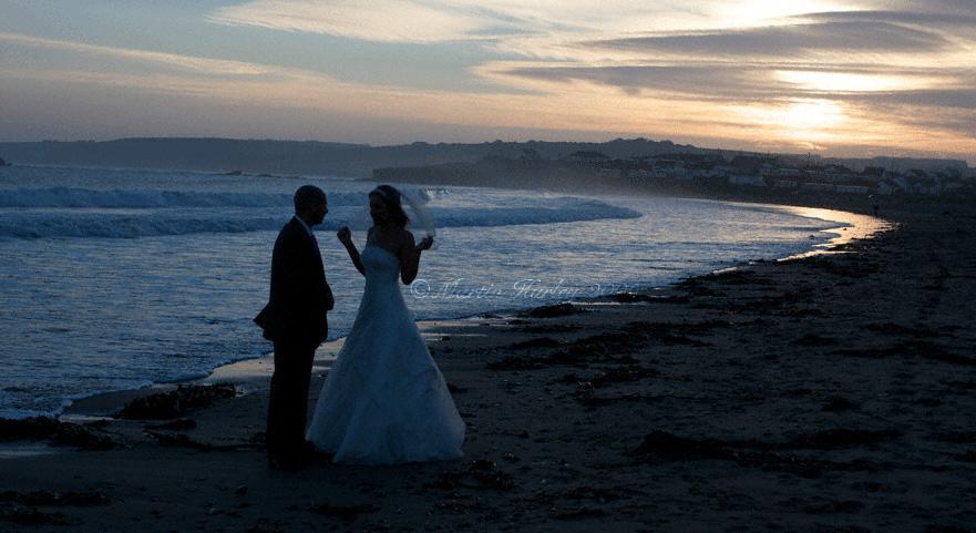 Wedding couple on beach near Kinsale, County Cork Ireland